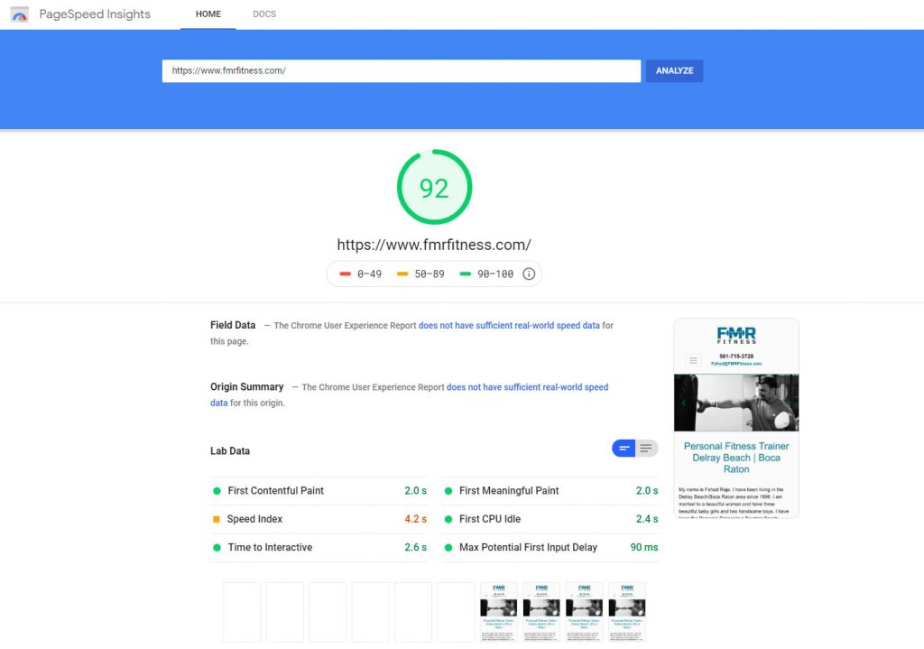 FMR Fitness Google Page Speed